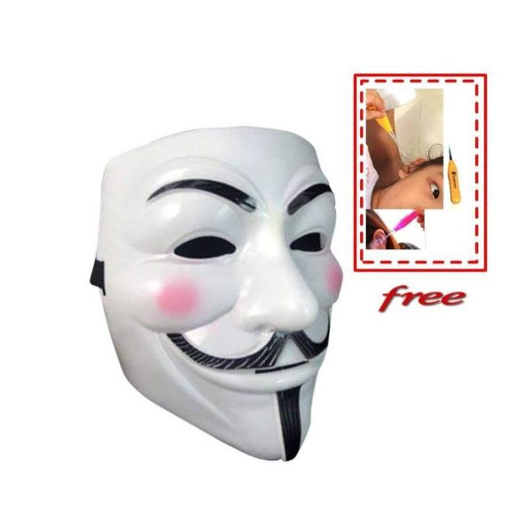 White Plastic Guy Fawkes Mask for Kids